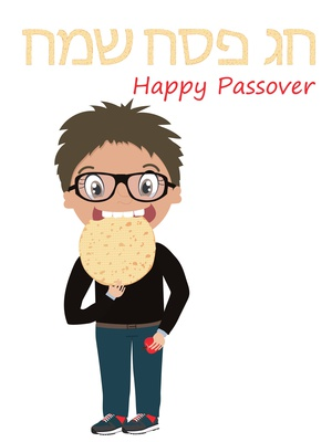 Passover greeting card with a little boy who eats matzo. Happy and kosher Passover in Hebrew, Jewish holiday card template
